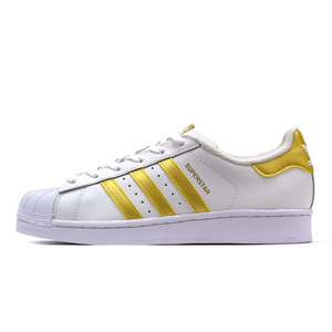 scarpa adidas superstar J BB2870 withe gold pelle