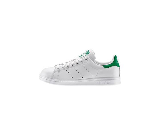 scarpa adidas stan smith in pelle, colore bianco e verde