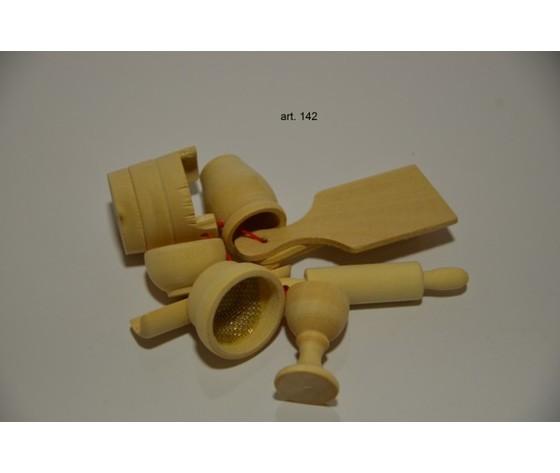 Kit stoviglie in legno 2,7