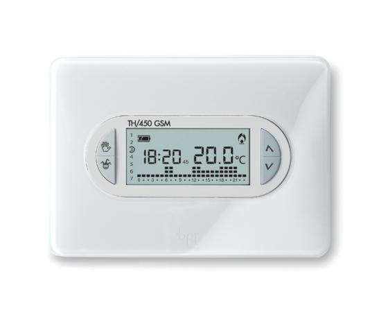 TH/450 GSM 69400030  Cronotermostato digitale GSM settimanale, corpo bianco, cover intercambiabili bianco ice e azzurro Kristal