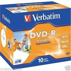 Verbatim Dvd-R 4.7 16X Printable 10 pack unites