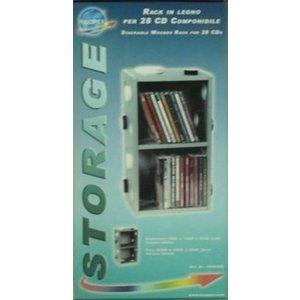 Rack in legno per 28 cd componibile
