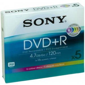 Sony Dvd+r 4.7GB DPR120 - Confezione da 5. 5 dischi colorati