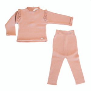 COMPLETO PULLOVER E LEGGINGS IN MAGLINA DI LANA - COLOR ROSA ANTICO