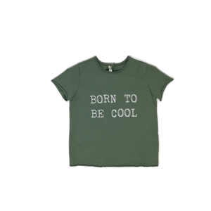 T-SHIRT COLOR SALVIA CON STAMPA - BORN TO BE COOL