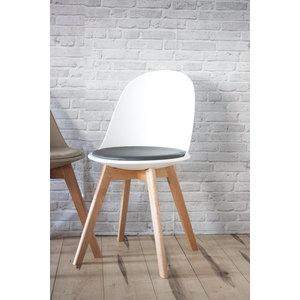 Sedia in ecopelle di colore bianco con gambe in legno naturale