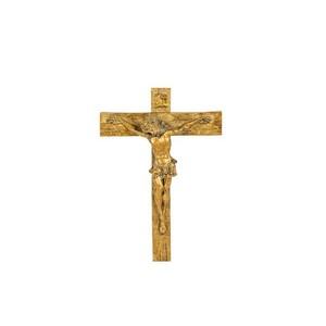 Croce resina oro arte sacra barocco semplice