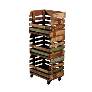 Libreria legno con ruote stile industrial