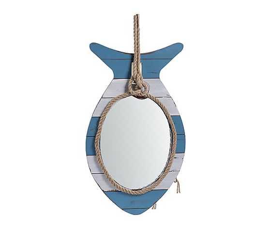 Specchio in legno bianco azzurro 34x4x61cm Stile Marinaro