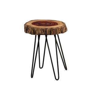 Tavolino in legno naturale e ferro
