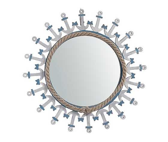Specchio rotondo in legno bianco e azzurro diametro 48cm Stile Marinaro