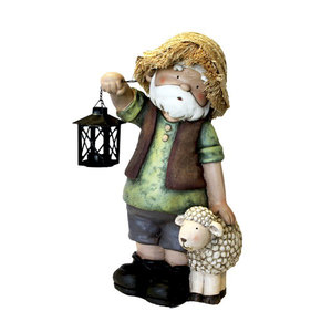 Gnomo decorativo da giardino pastore con pecora