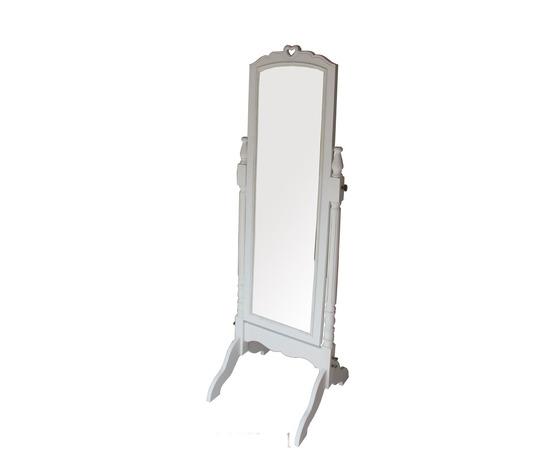 Specchio da terra inclinabile bianco 54x52x160cm Stile Shabby Chic