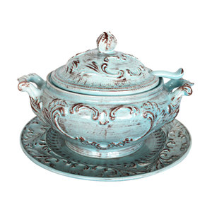 Zuppiera con piatto ceramica turchese