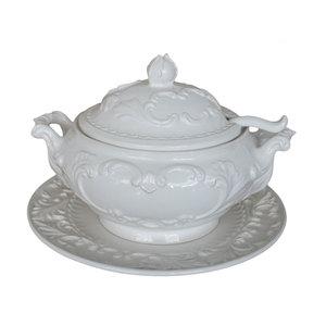 Zuppiera con piatto ceramica bianco