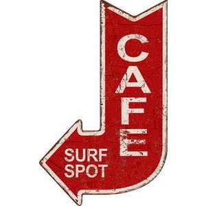 Targa in metallo rosso cafe surf spot