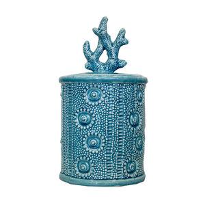 Vaso con coperchio in ceramica turchese soprammobile decorativo