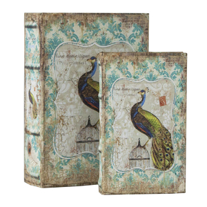 Set 2 scatole porta oggetti francobolli pavone