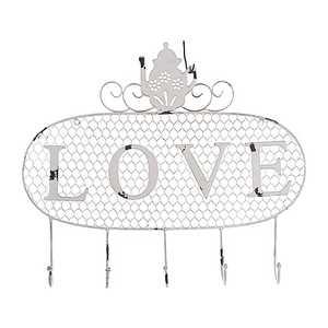 Appendino Love, con 5 ganci, in ferro bianco, anticato ,Stile Shabby Chic, 52x5x44cm