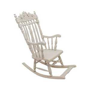 Sedia a dondolo in legno bianco Shabby Chic