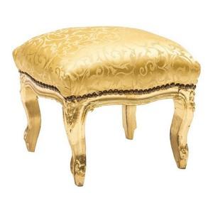 Pouf in legno finitura oro tessuto oro 38x39x39 Stile Barocco