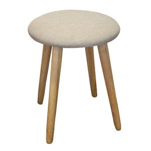 Sgabello rotondo struttura in legno seduta rivestita in tessuto