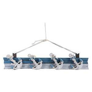 Appendino in legno bianco e azzurro 70x5,5x16cm Stile marinaro nautico