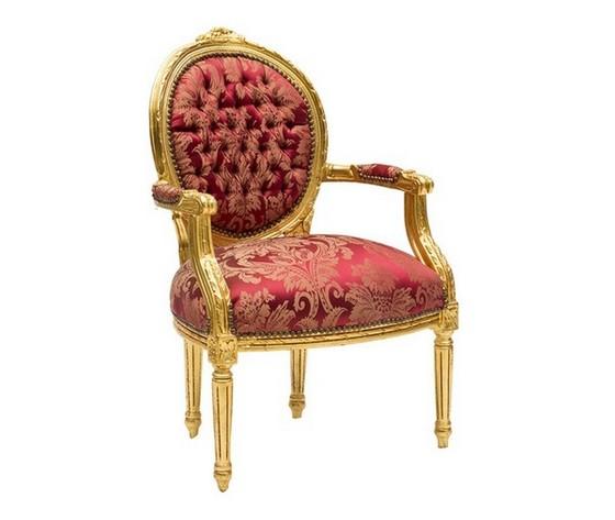 Poltrona barocco medaglione oro rossa Stile Luigi XV