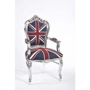 Poltrona barocco argento bandiera inglese Stile Luigi XV