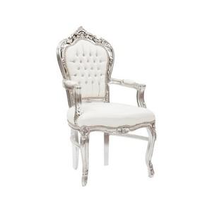 Poltrona barocco argento bianco Stile Luigi XV