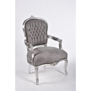 Poltrona barocco struttura argento grigio