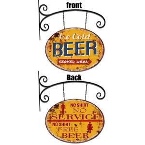 Insegna braccio in ferro Big Beer targa bifacciale per Pub Bar