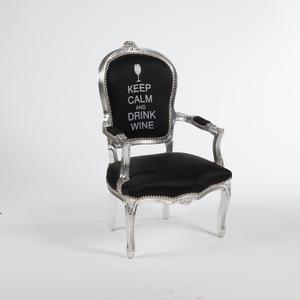 Poltrona barocco argento nera Keep Calm stile Luigi XV