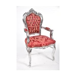 Poltrona barocco argento rosso stile Luigi XV