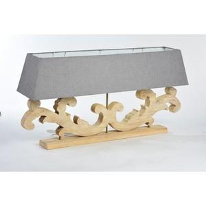 Lampada da tavolo legno naturale paralume grigio stile Shabby Chic