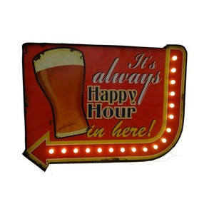 Insegna luminosa 'IT'S ALWAYS IN HAPPY HOUR IN HERE!'