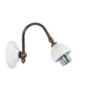 Applique, lampada da parete ottone e ceramica bianca 1 luce