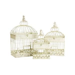 Set 3 gabbie in ferro bianco