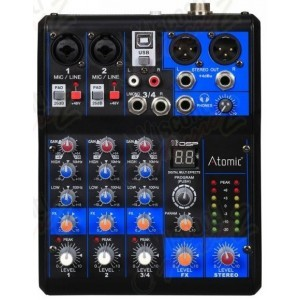 Mixer MIX-S 201 FX audio 4 canali Atomic Pro