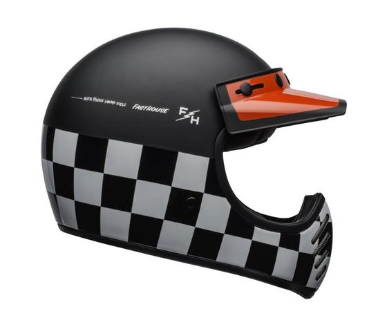 MOTO-3 BELL CHECKERS MATTE/GLOSS BLACK/WHITE/RED