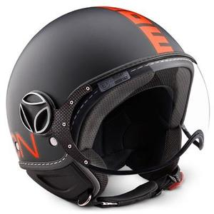Casco jet Momo Design Fighter Nero opaco - Arancio Fluo