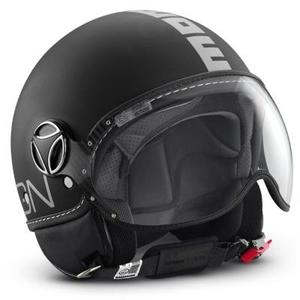 Casco jet Momo Design Fighter Classic Nero opaco - Argento