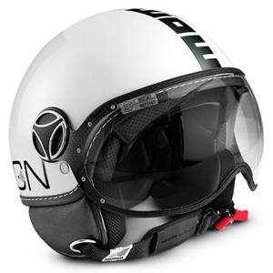 Casco jet Momo Design Fighter Classic Bianco Lucido - Nero