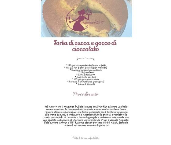 Torta di zucca e gocce di cioccolato