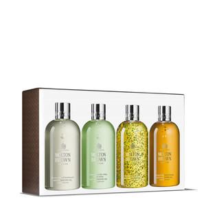 Confezione regalo woody & citrus Collections con quattro doccia schiuma