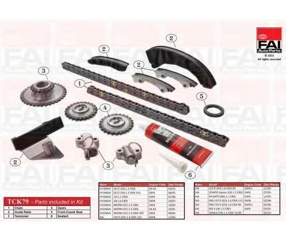 Kit CATENA Distribuzione PER: Hyundai 1.5 CRDI, KIA 1.4  -  1.5 - 1.6 CRDI