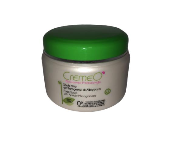 Scrub viso ai Microgranuli di Albicocca Bio Cosmesi CREMEO':     Oltre a rimuovere impurità e cellule morte con microgranuli di albicocca, ha un'efficacia idratante di lunga durata. Esfolia e pulisce la pelle in profondità aiutando a rimuovere le cellule morte e le impurità. Grazie a sostanze dalle proprietà nutrienti, idratanti e tonificanti, la pelle apparirà più levigata, morbida e luminosa. Modo d'uso: applicare una piccola quantità di Scrub praticando un leggero massaggio circolare e continuo su tutta la superficie del viso, con particolare cura per la fronte, il mento e il naso. Rimuovere bene con acqua tiepida. ml 500 INCI Componenti – Ingredients: Aqua, Ethylhexyl palmitate, Glyceryl stearate SE, Cetearyl alcohol, Glycerin, Prunus armeniaca seed powder, Glycine soja oil, Titanium dioxide, Stearic acid, Sodium ascorbyl phosphate, Parfum, Sodium dehydroacetate, Citric acid, Tocopherol, Tetrasodium glutamate diacetate.