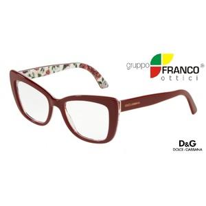 Occhiale da vista Dolce & Gabbana DG3308 colore 3202 BORDEAUX/ROSE AND PEONY 53/18