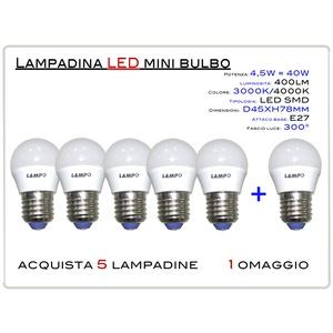 KIT 5 PEZZI LED MINI BULBO E27 4,5W - LAMPADINA LED MINI BULBO ATTACCO E27 (GRANDE) 4,5W = 40W LUCE CALDA 3000K 400lm