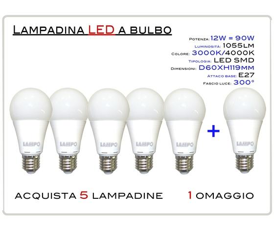 KIT 5 PEZZI  LED BULBO E27 12W - LAMPADINA LED BULBO ATTACCO E27 (GRANDE) 12W = 80W LUCE CALDA 3000K 10550lm